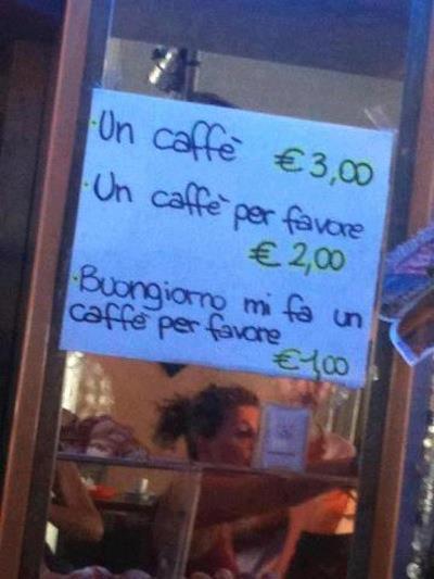 quanto costa un caffè