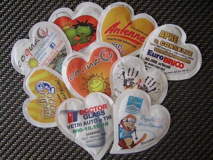 Bustine pubblicitarie personalizzate zucchero Cuore