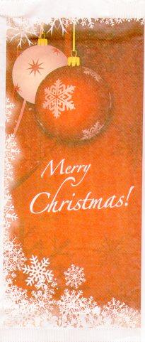 Portaposate portacoperti Natale Merry Cristhmas con salvietta 2 veli all'interno
