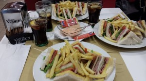 Paper Placemats with incredible, delicious Club Sandwich