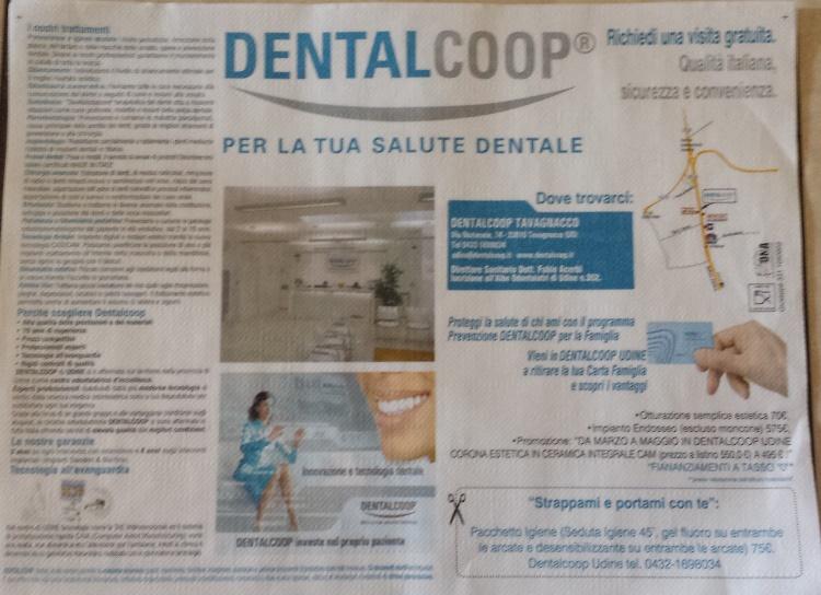 tovaglietta personalizzata pubblicitaria dentalcoop personaizzata