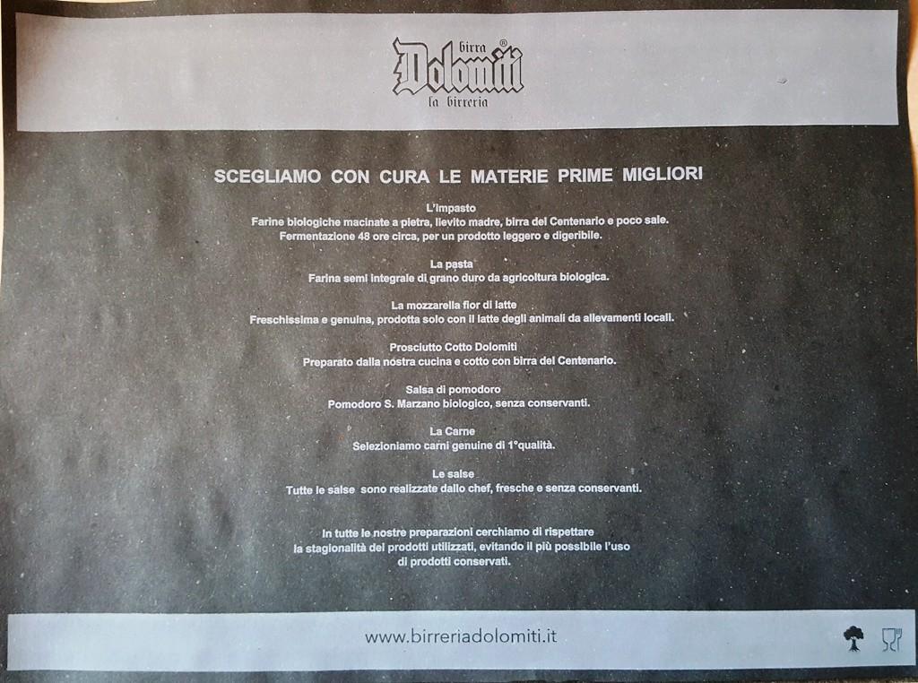 Birreria dolomiti tovaglietta 33 45 veneziana nera personalizzata in bianco tovagliettecartaCOM